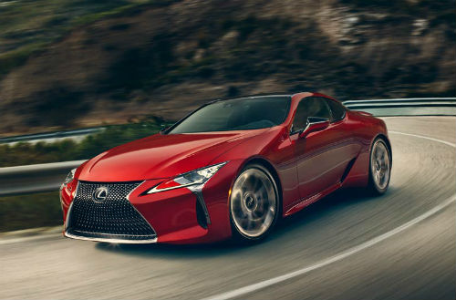 a red 2018 Lexus LC 500 driving
